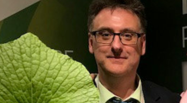 Sean Kitson with a homegrown wasabi plant, the root stems of which are used in Japanese cooking
