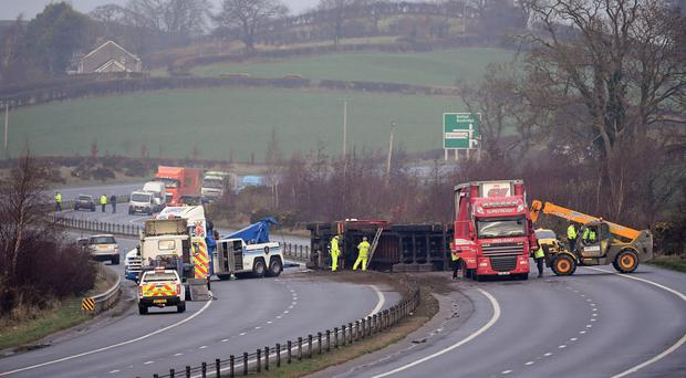 Emergency services at the accident scene on the A1 near Newry on Thursday