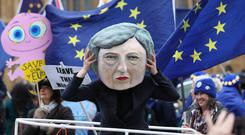 A puppet of Theresa May outside the Houses of Parliament (Yui Mok/PA)