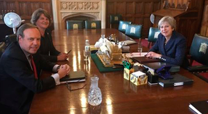 DUP deputy leader Nigel Dodds and party leader Arlene Foster meet Theresa May in Westminster yesterday after the Prime Minister's withdrawal agreement was voted down in the House of Commons