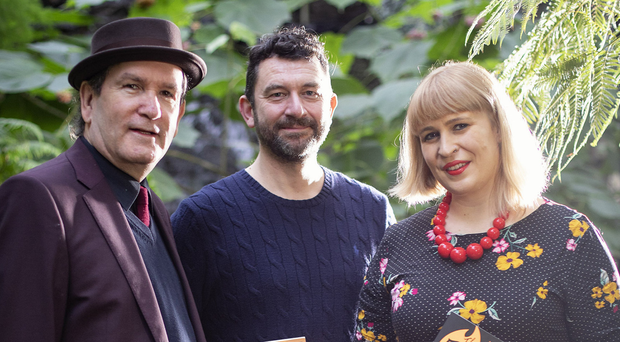Damian Smyth (left), head of literature and drama at the Arts Council, and writers Paul McVeigh and Jan Carson