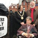A corner of the Falls Road area of west Belfast has been named after anti-plastic bullet campaigners, Clara Reilly (pictured) and the late Emma Groves (Rebecca Black/PA)