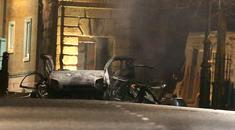 The scene of a suspected car bomb on Bishop Street in Londonderry (Steven McAuley/PA Wire)
