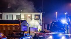 The scene of the house fire on Long Commons, Coleraine
