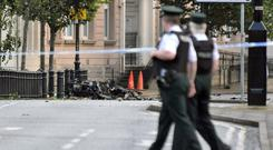 2010: The scene outside Strand Road Police Station in Derry where a bomb exploded