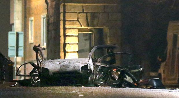 The scene of a suspected car bomb on Bishop Street in Londonderry. (Steven McAuley/PA Wire)