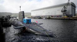 File photo of the Vanguard-class nuclear deterrent submarine HMS Vengeance. The Royal Navy has not confirmed which submarine was involved in the near-miss (Jane Barlow/PA).