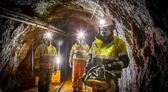 Dalradian workers down a mine. The Canadian company has an Exploration Licence for the Sperrin Mountains near Greencastle, Co Tyrone