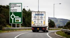 A lorry approaches the border