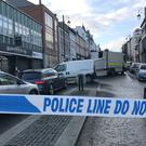 A police cordon near the scene of a car bomb blast on Bishop Street in Londonderry
