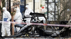 Scene outside Court House in Derry after the bomb explosion