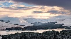 Low sun light over Loch Tulla yesterday in Bridge of Orchy, Scotland