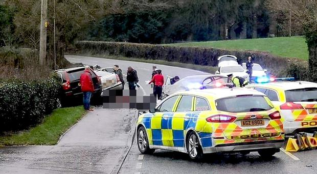 The scene of the fatal accident on the road between Dungannon and Moy