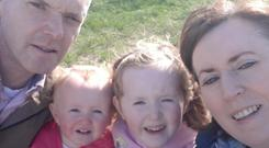 Mairead and Harry Reford with daughters Grace (5) and Maeve (2).