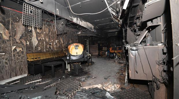 The scene of the suspected arson attack on Antrim Turkish Barbers
