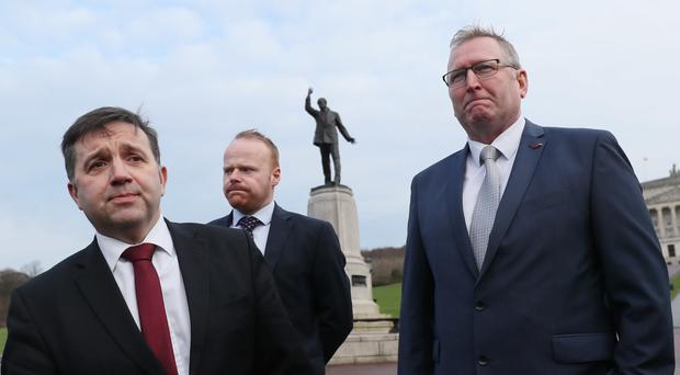 UUP leader Robin Swann, left, and party colleagues John Stewart and Doug Beattie arrive at Stormont for talks with Theresa May (Brian Lawless/PA)