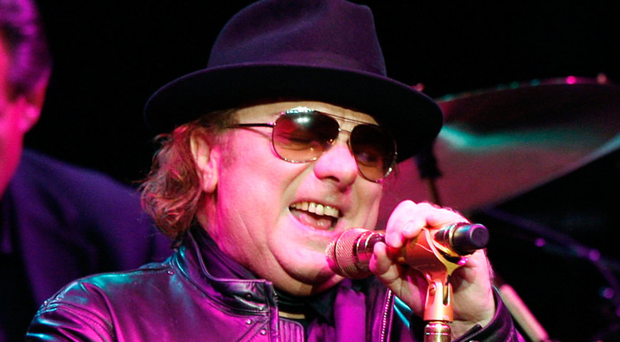 Van Morrison performing on stage at the Orpheum Theater in Los Angeles