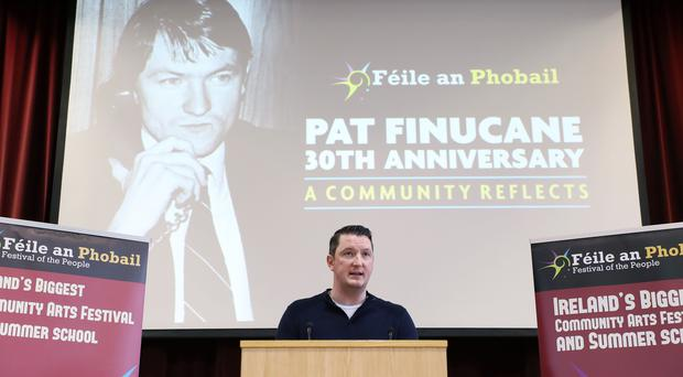 Speaker John Finucane pictured at the event at St Mary's University College Belfast entitled 'Pat Finucane 30th Anniversary, A Community Reflects'. The event was organised by Feile an Phobail (Kelvin Boyes/Press Eye/PA)