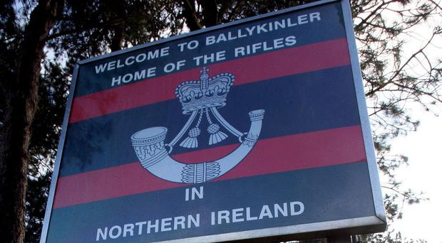 File photo dated 05/11/09 of the entrance to Ballykinler barracks in Co Down, Northern Ireland. An inquest into the deaths of two young British soldiers at their barracks is due to begin later. James Ross and Darren Mitchell died from suspected suicide within three months of each other at Ballykinler in Co Down.