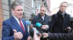 UK shadow Brexit secretary Sir Keir Starmer speaking to the media before holding a series of meetings in Congress House in Dublin.