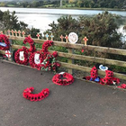 The damage to the memorial wreaths at Narrow Water