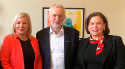 Sinn Fein's Michelle O'Neill and Mary Lou McDonald with Labour leader Jeremy Corbyn at a meeting in Westminster yesterday