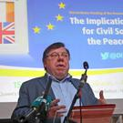 Former Taoiseach Brian Cowen speaking at the European Economic and Social Committee conference at Queen's University in Belfast (Brian Lawless/PA)