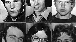 Top row, from left: Seamus Grew,Roddy Carroll, and Michael Tighe. Bottom row, from left: Gervaise McKerr, Sean Burns and Eugene Toman