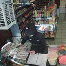 CCTV images of the suspect with a knife at Whites News & Views in Blucher Street in Derry's Bogside