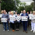 Campaigners protest outside the former Good Shepherd mother and baby home on Belfast's Ormeau Road.