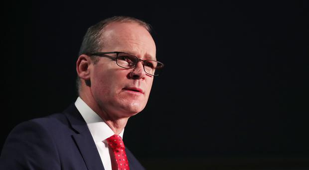 Tanaiste Simon Coveney on stage at the Global Ireland 2025: Making it Happen conference, at the Dublin Castle Conference Centre (PA)