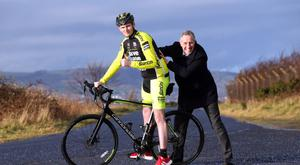 North Antrim MP Ian Paisley helps launch Adam Carroll's charity cycle ride around three international road race motorcycle circuits