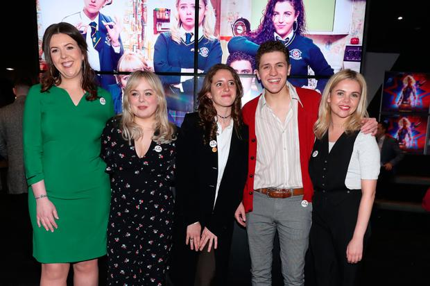 (Left to right) writer Lisa McGee with cast members Nicola Coughlan , Louisa Harland, Dylan Llewellyn and Saoirse Monica Jackson