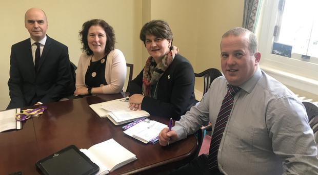 DUP Leader Arlene Foster and Dungannon councillor Clement Cuthbertson (right) meeting Dr Margaret O'Brien and Pat Brolly from the HSCB