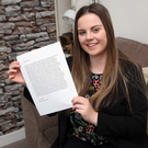 Katie Graden Spence (18) with her letter