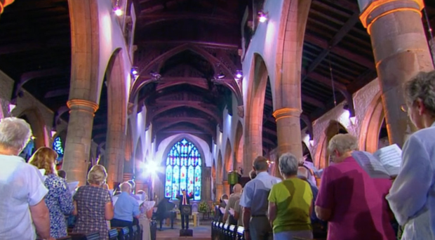 A scene from a recent episode of Songs of Praise, which is being shifted from its early evening slot