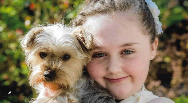 Tragic Maddy-Leigh Harbinson with her dog, Trixie