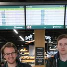 Tom Howlett (left) and Chris Hamill, from the Lake District arriving at Dublin Airport after their flight from Manchester was delayed when a confirmed drone sighting forced the temporary suspension of airport operations.