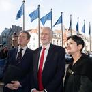 Jeremy Corbyn (C) with the Shadow Secretary of State for Exiting the European Union Sir Keir Starmer KCB QC (L) and the Shadow Attorney General for England and Wales the Baroness Sharmishta Chakrabarti