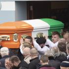 The coffin of the late Pat Ward is carried from St Anne's Church in Sligo