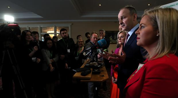 Micheal Martin speaks to the press during Fianna Fail's annual conference in Dublin (Brian Lawless/PA)