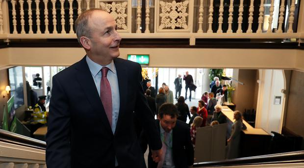 Micheal Martin at his party's annual conference at the Citywest Hotel in Dublin (Brian Lawless/PA)