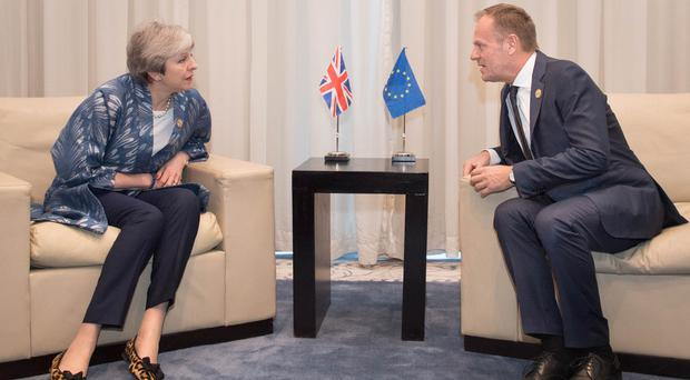 Theresa May meets European Council president Donald Tusk in Sharm el-Sheikh (Stefan Rousseau/PA)