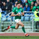 Jacob Stockdale in action against Italy in the Six Nations Championship