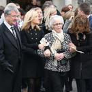 The funeral of Corrado Morelli at St Patrick's Church Portrush. His wife Elizabeth with family at the service