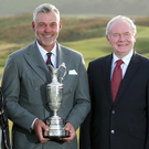 Then First Minister Arlene Foster and deputy First Minister Martin McGuinness with Darren Clarke and Royal and Ancient's Martin Slumbers and Peter Unsworth at the announcement in October 2015 that The Open is to be held at Royal Portrush in 2019