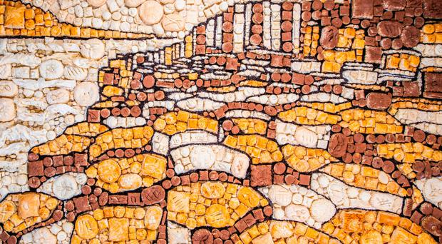 The Giant's Causeway depicted in a collage of 1,334 pies by pastry specialists Jus-Rol in celebration of British Pie Week