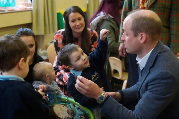 The Duke and Duchess of Cambridge during a visit to St Joseph's SureStart facility in Ballymena