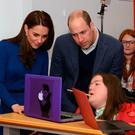 The Duke and Duchess of Cambridge meet Phoebe Lyle during their visit to the Braid Arts Centre in Ballymena