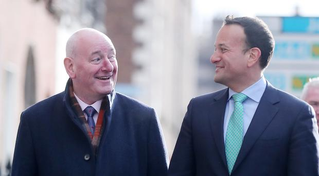 Former SDLP leader Mark Durkan arrives at a press conference where he is unveiled as running for Fine Gael in the European elections in Dublin by Taoiseach Leo Varadkar.